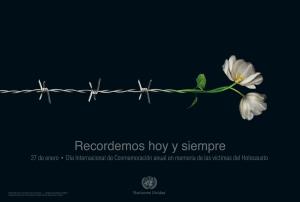 Póster conmemorativo por el Día Internacional de Recordación del Holocausto, diseñado por el argentino Matías Delfino para la ONU