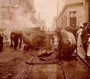 Carruaje tras la explosión
