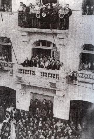 Bandera izada por primera vez en la Agencia Judía - 1949 Presencia de Grunberg